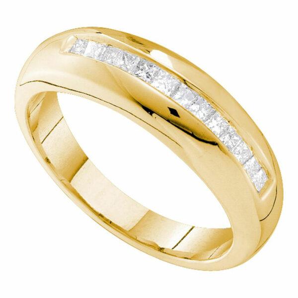 14kt Yellow Gold Mens Princess Diamond Wedding Single Row Band Ring 1/2 Cttw
