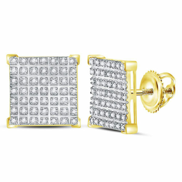 10kt Yellow Gold Mens Round Diamond Square Cluster Earrings 1/3 Cttw