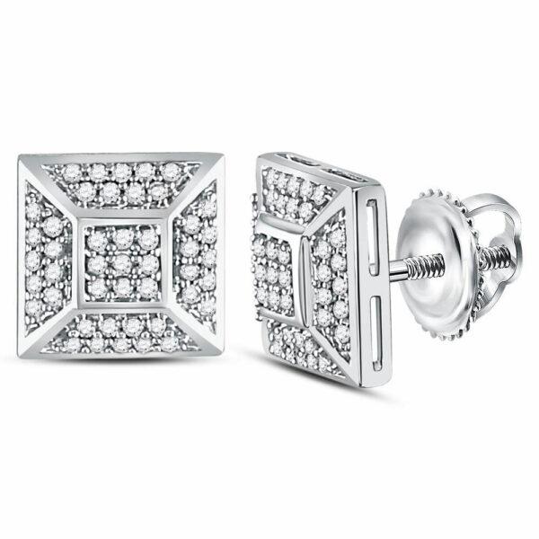 10kt White Gold Mens Round Diamond Square Cluster Stud Earrings 1/5 Cttw