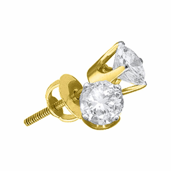 14kt Yellow Gold Womens Round Diamond Solitaire Earrings 1/5 Cttw