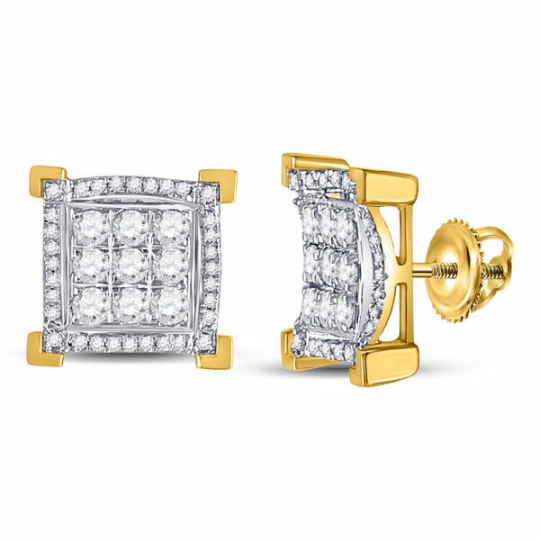 14kt Yellow Gold Mens Round Diamond Squared Cluster Earrings 1 Cttw