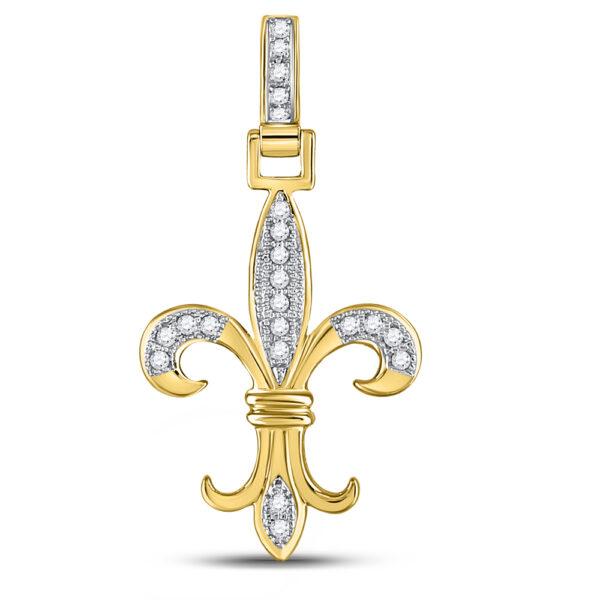10kt Yellow Gold Mens Round Diamond Fleur-de-Lis Charm Pendant 1/6 Cttw