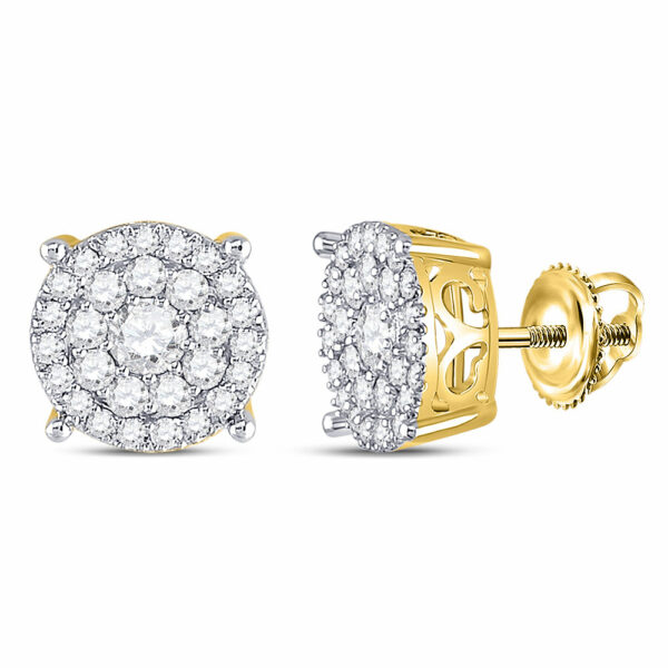 10kt Yellow Gold Womens Round Diamond Fashion Cluster Earrings 1 Cttw