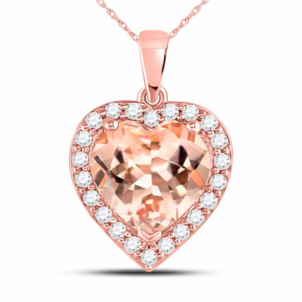 10kt Rose Gold Womens Morganite Heart Diamond Pendant 2-1/4 Cttw