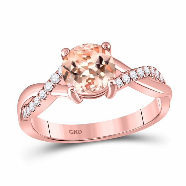10kt Rose Gold Womens Round Morganite Solitaire Ring 1-1/3 Cttw