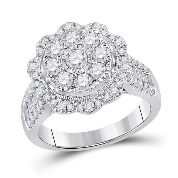 14kt White Gold Womens Round Diamond Right Hand Cluster Ring 1-5/8 Cttw