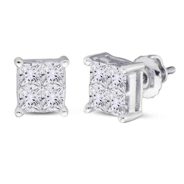 14kt White Gold Womens Princess Diamond Square Cluster Stud Earrings 1 Cttw