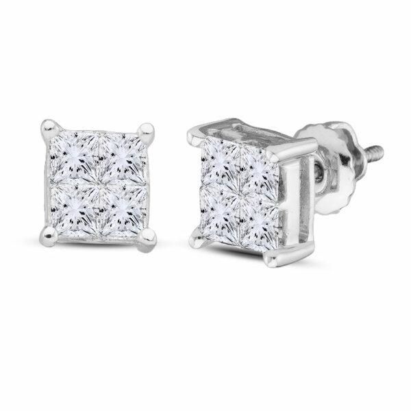 14kt White Gold Womens Princess Diamond Square Earrings 1/2 Cttw