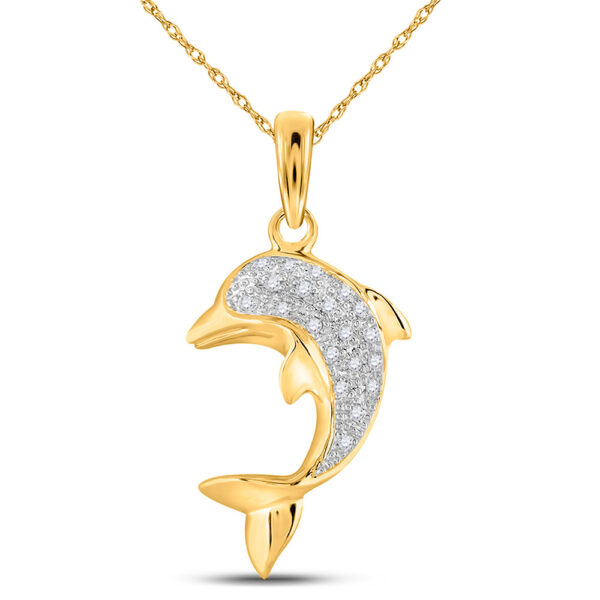 14kt Yellow Gold Womens Round Diamond Dolphin Fish Animal Pendant 1/10 Cttw
