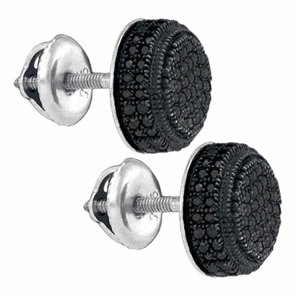 Sterling Silver Mens Round Black Color Enhanced Diamond Cluster Earrings 1/2 Cttw