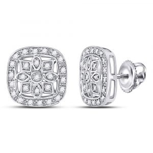 Sterling Silver Womens Round Diamond Square Frame Flower Petals Earrings 1/6 Cttw