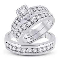 10kt White Gold His Hers Round Diamond Solitaire Matching Wedding Set 3/8 Cttw