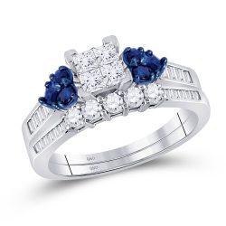 10kt White Gold Princess Diamond Bridal Wedding Ring Band Set 1/2 Cttw